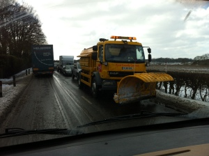 Eve the snow ploughs could not get through gridlocked traffic.